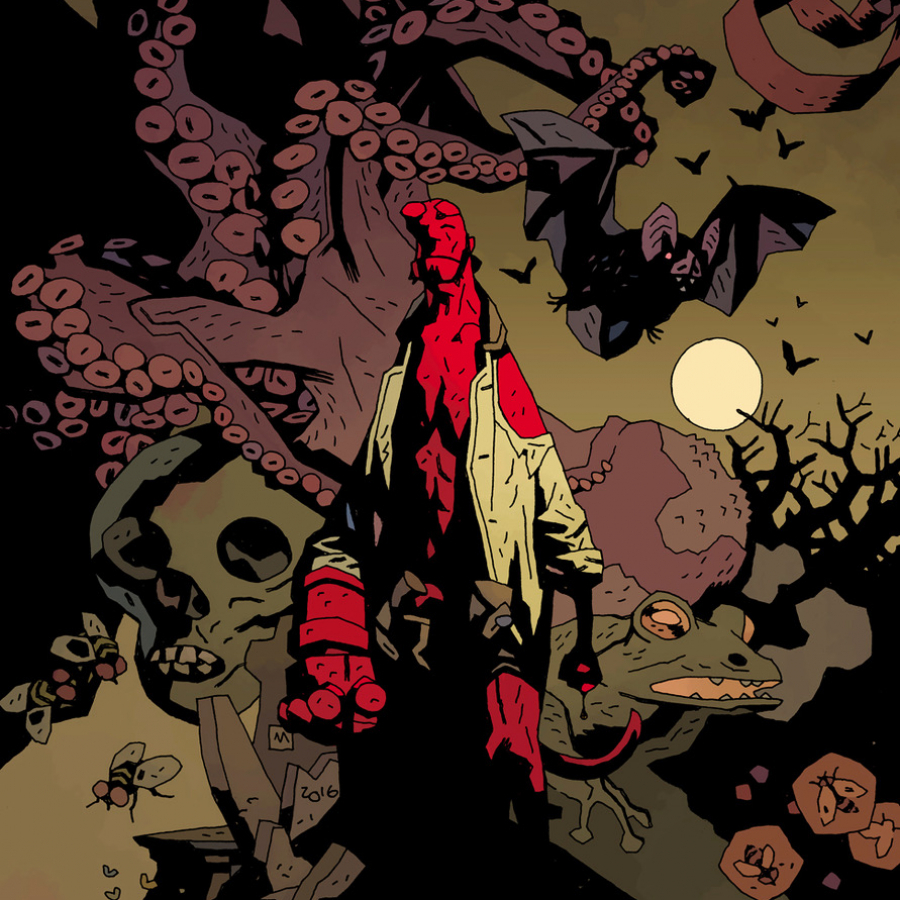 Hellboy walking away from forest of frightening creatures. Horror cartoonists Mike Mignola