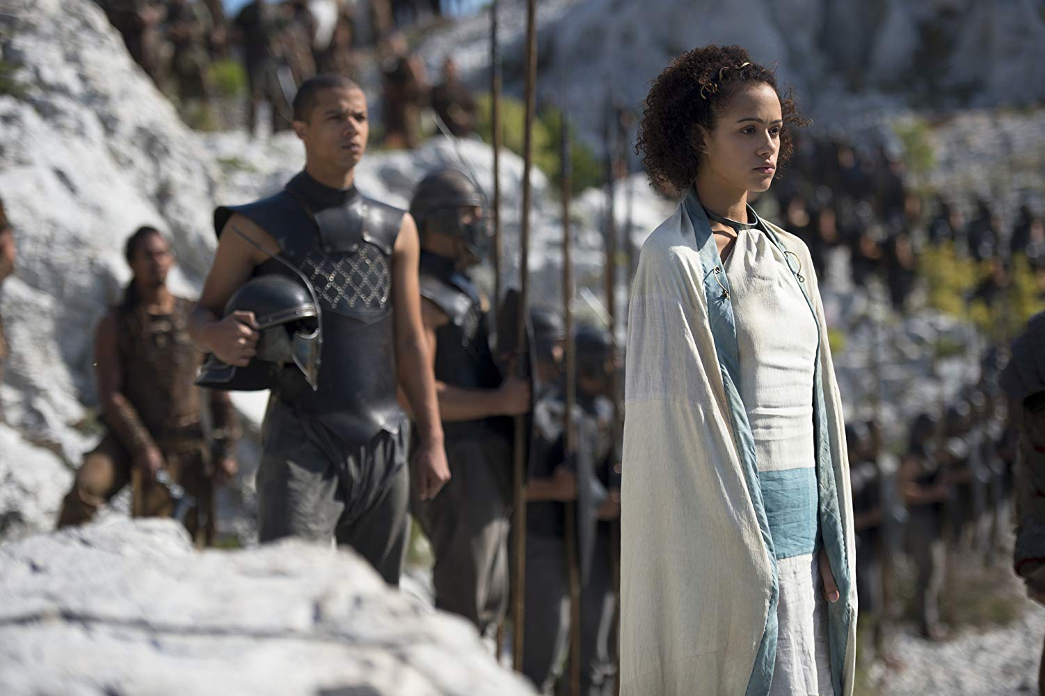 missandei of naath stands with unsullied soldiers on the road to meereen