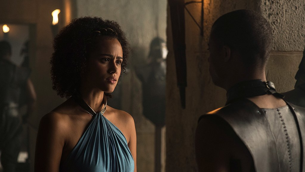 missandei of naath converses with grey worm