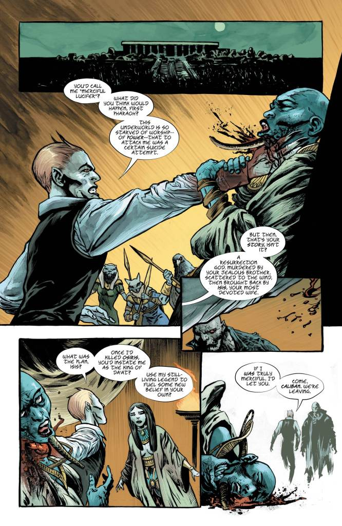 Lucifer #10: Page 1, Lucifer foils Osiris and Isis's plan to trick him.