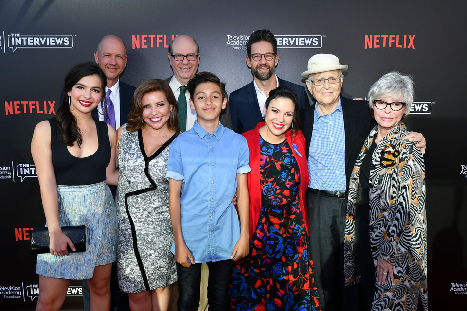 The cast of One Day At A Time with Norman Lear and Gloria Claderon Kellett and Mike Royce.