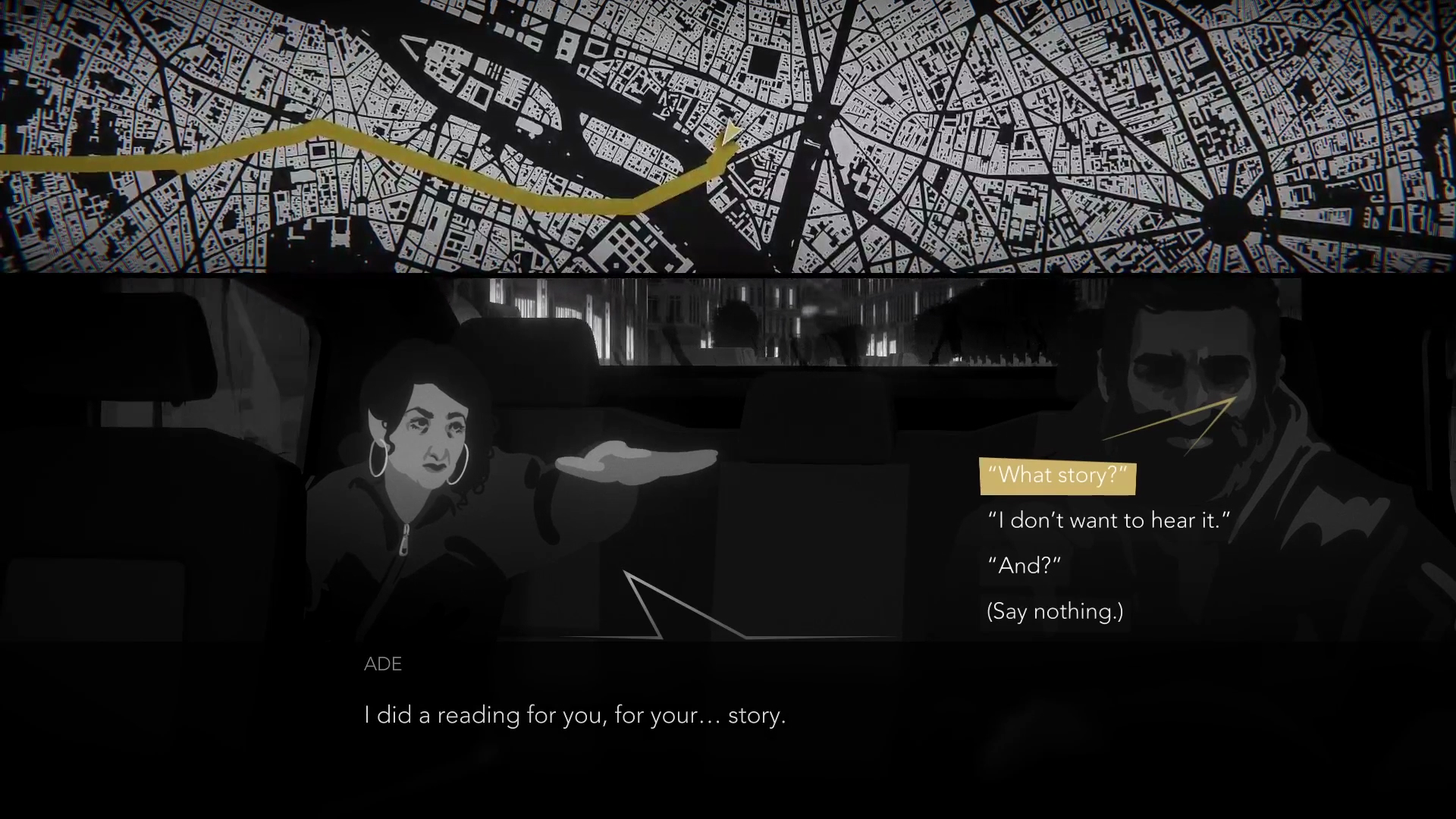 A screenshot of Night Call depicting how people choose to respond towards passengers in the cab.