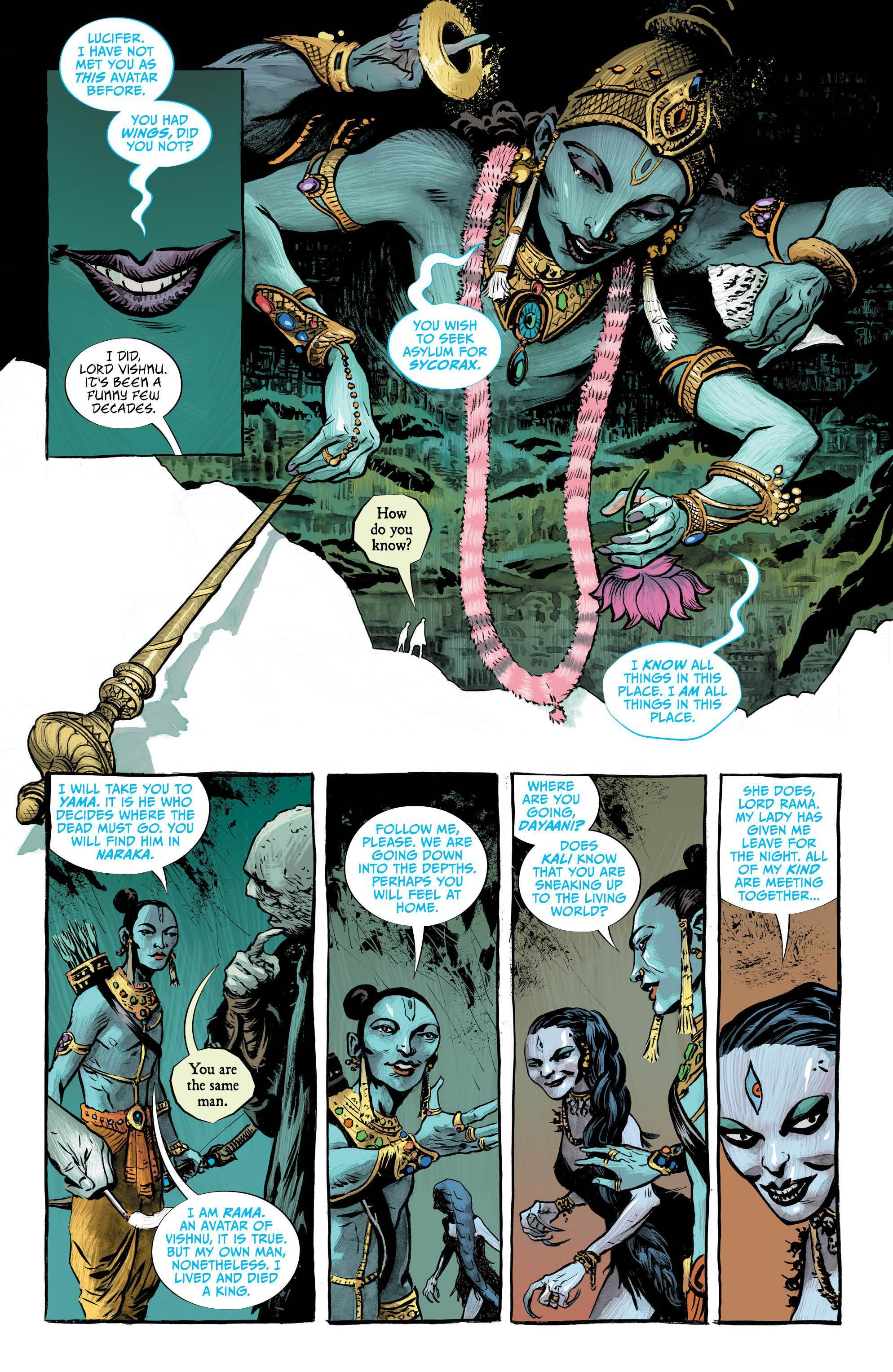Lucifer #10: Page #5, Lucifer and Caliban talk to Vishnu