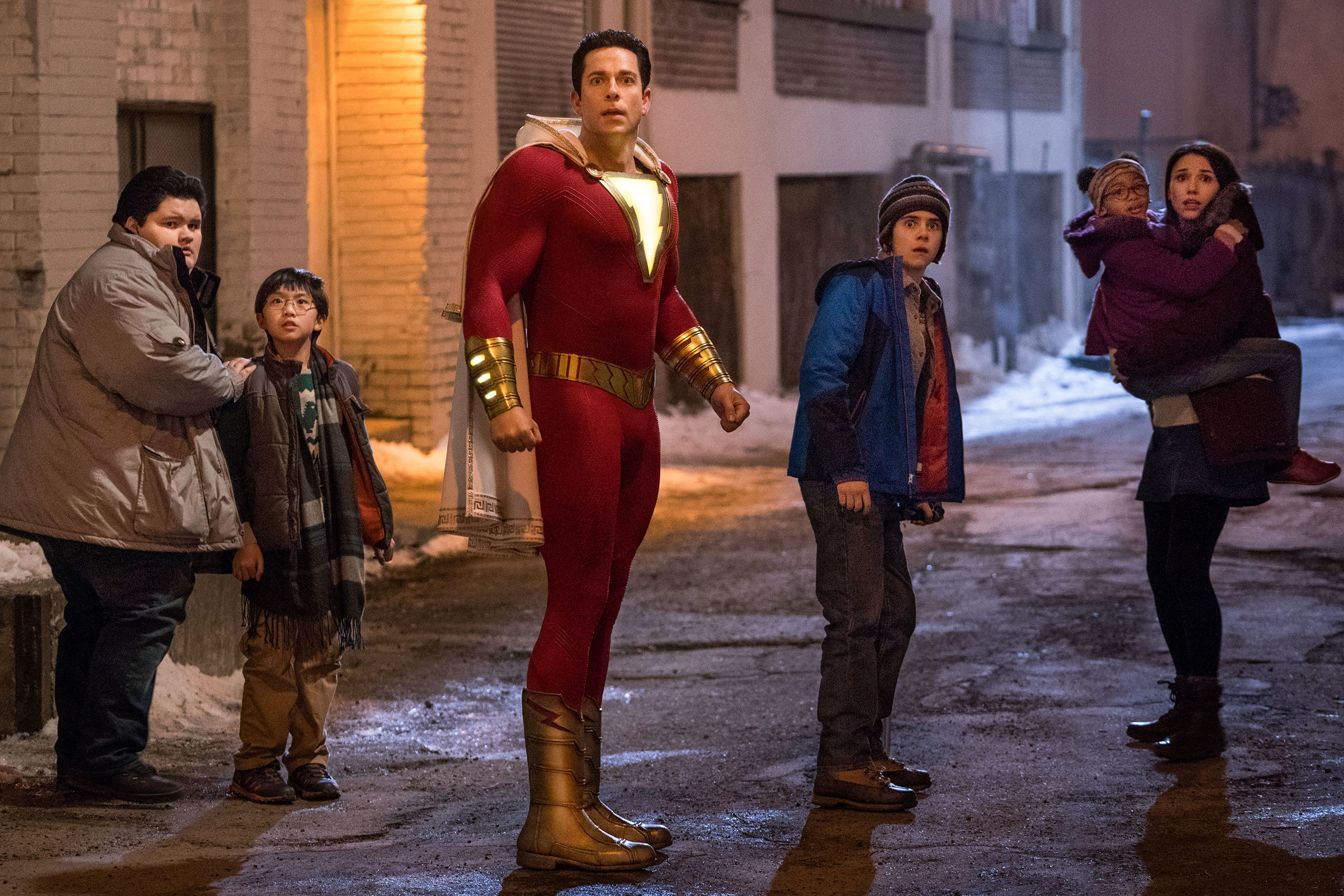 SHAZAM! cast being frightened by something... who can guess what it is?