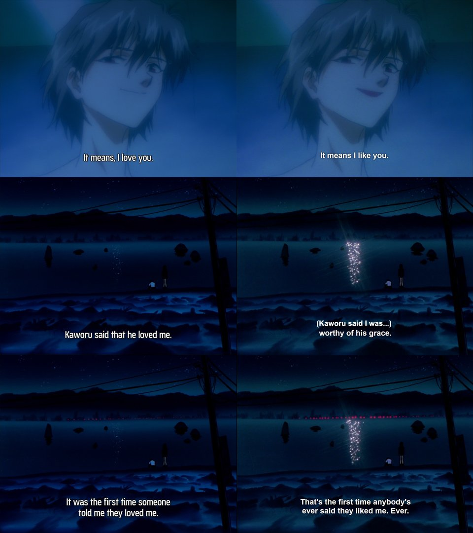 Queer erasure through Netflix's subtitles. Comparison photo of the original Neon Genesis Evangelion and Netflix's.