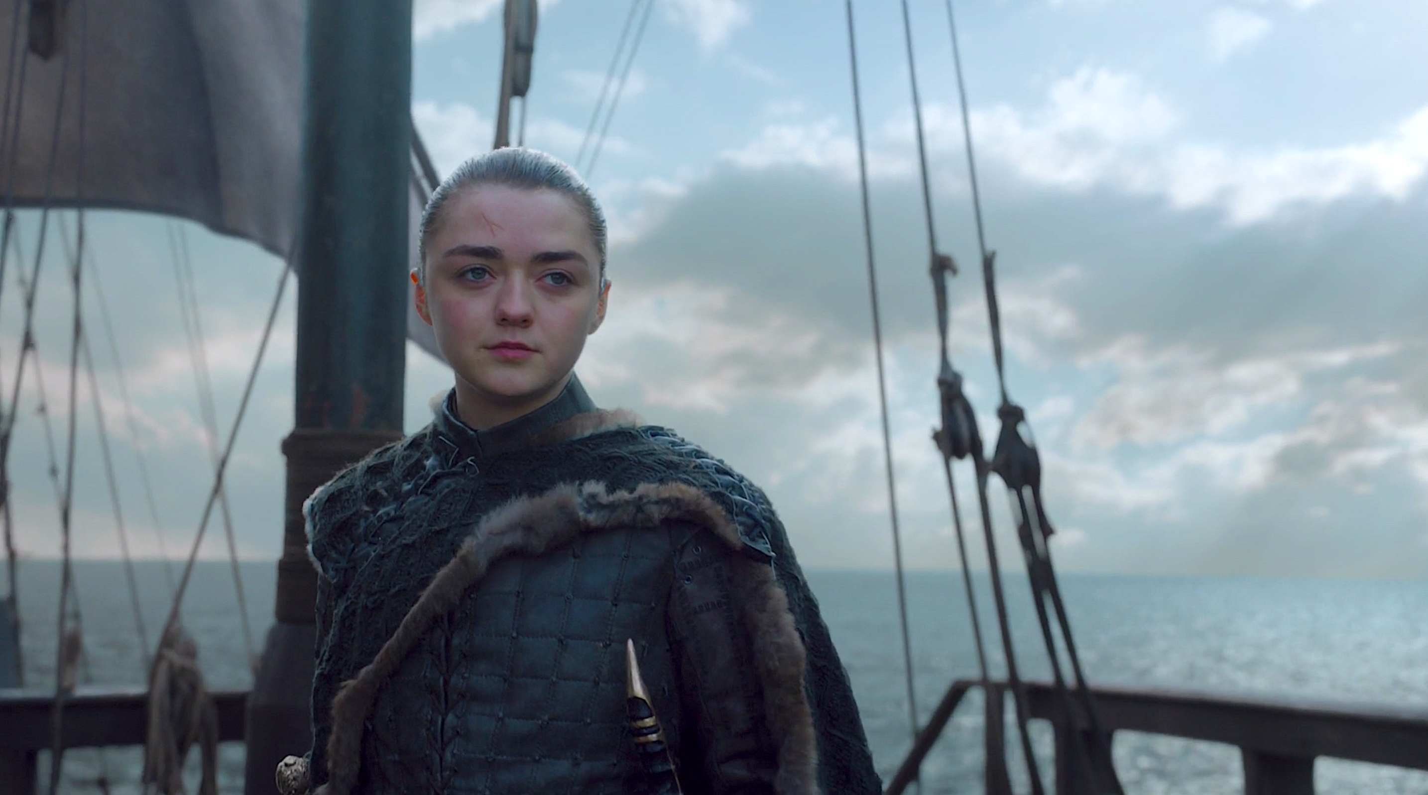 Arya Stark sails West of Westeros at the end of Game of Thrones season 8.