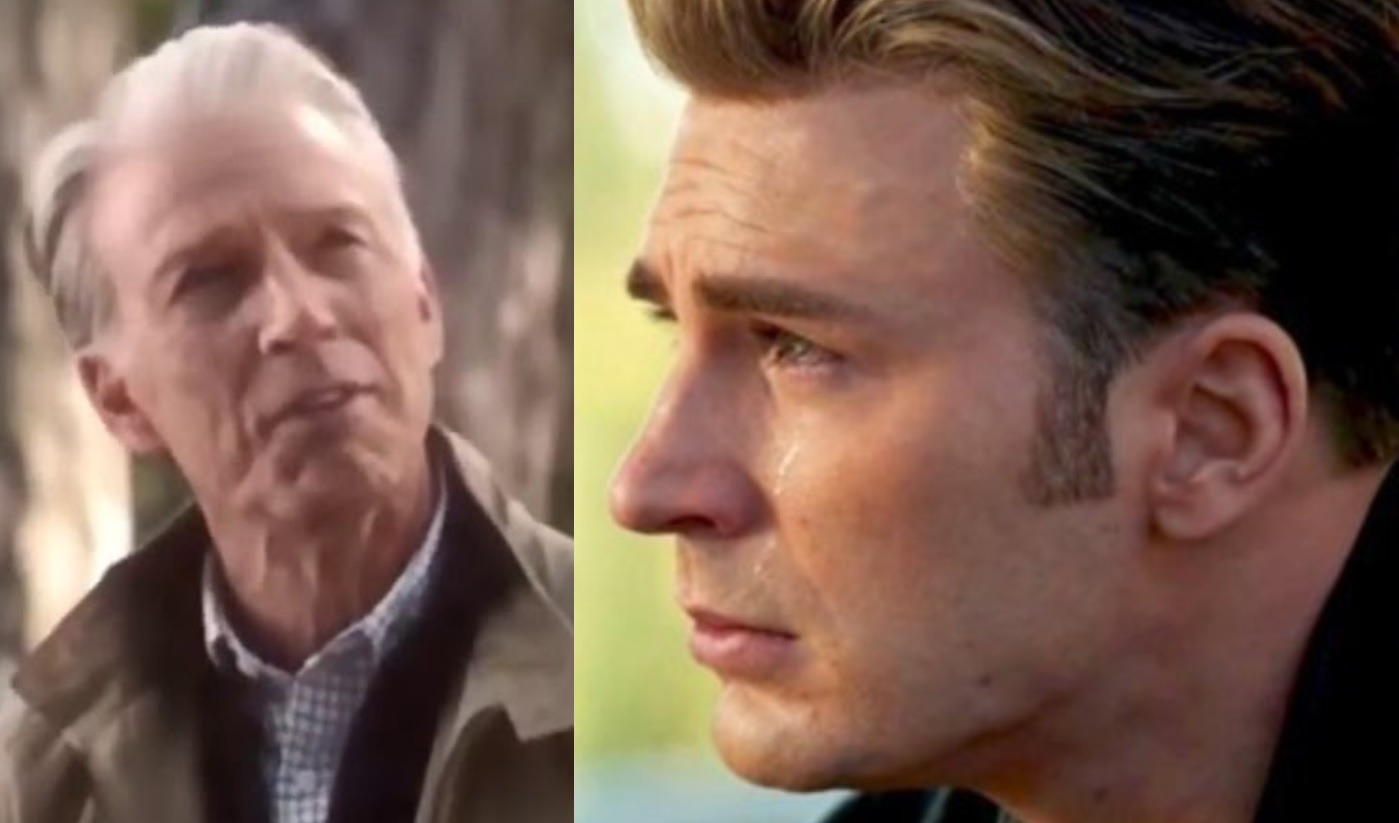 The old Steve Rogers...and the young Steve Rogers and his manly tears for the MCU fandom.