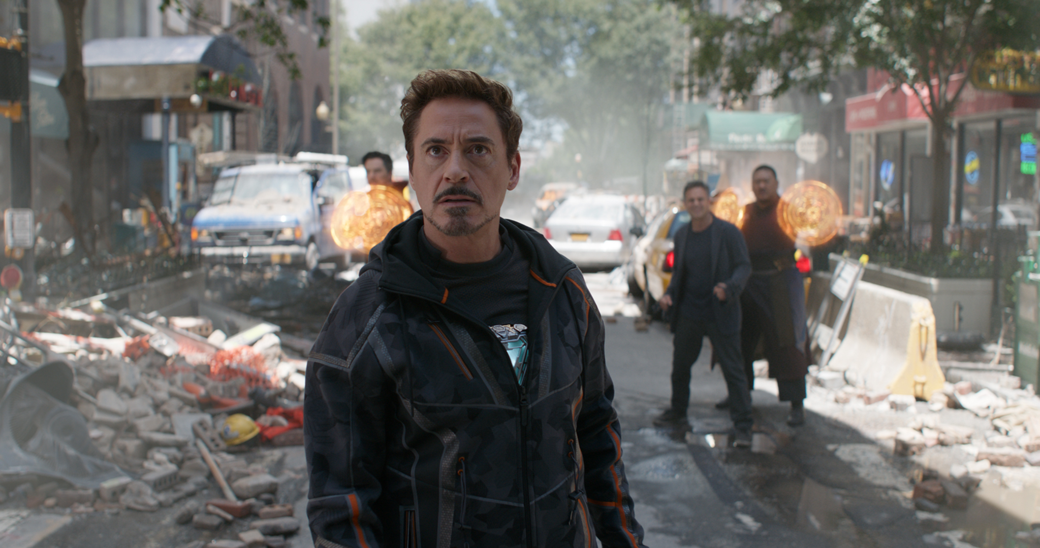 Tony Stark, Doctor Strange, Bruce Banner and Wong face off against Squidward.