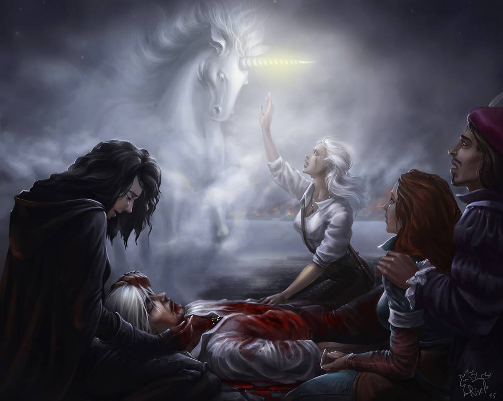 Yennefer, Ciri, Dandelion, and Triss sit next to the dead body of Geralt