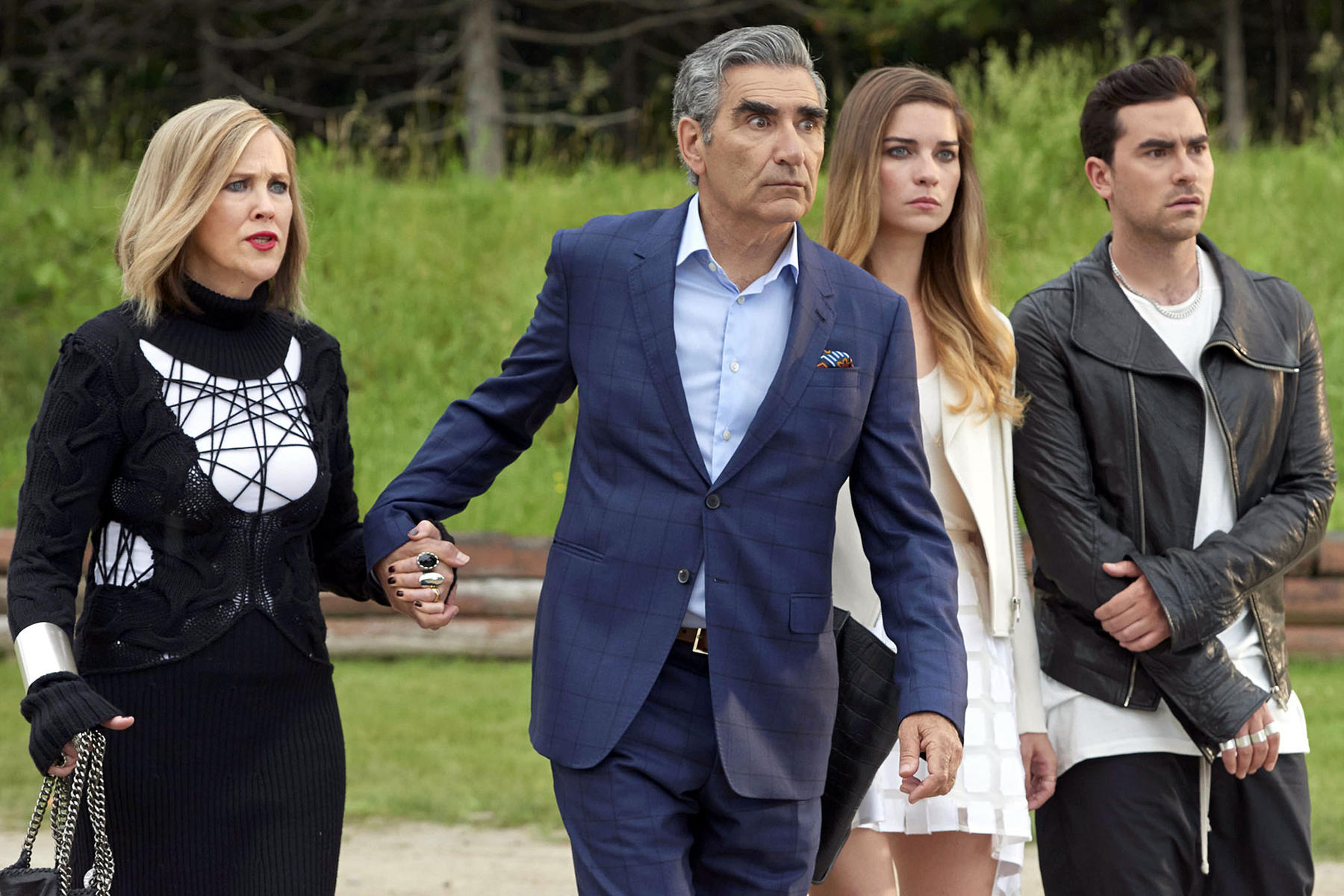 Johnny, Moira, David and Alexis Claire Rose moved to a little town called Schitt's Creek after their rich lives were turned upside down.
