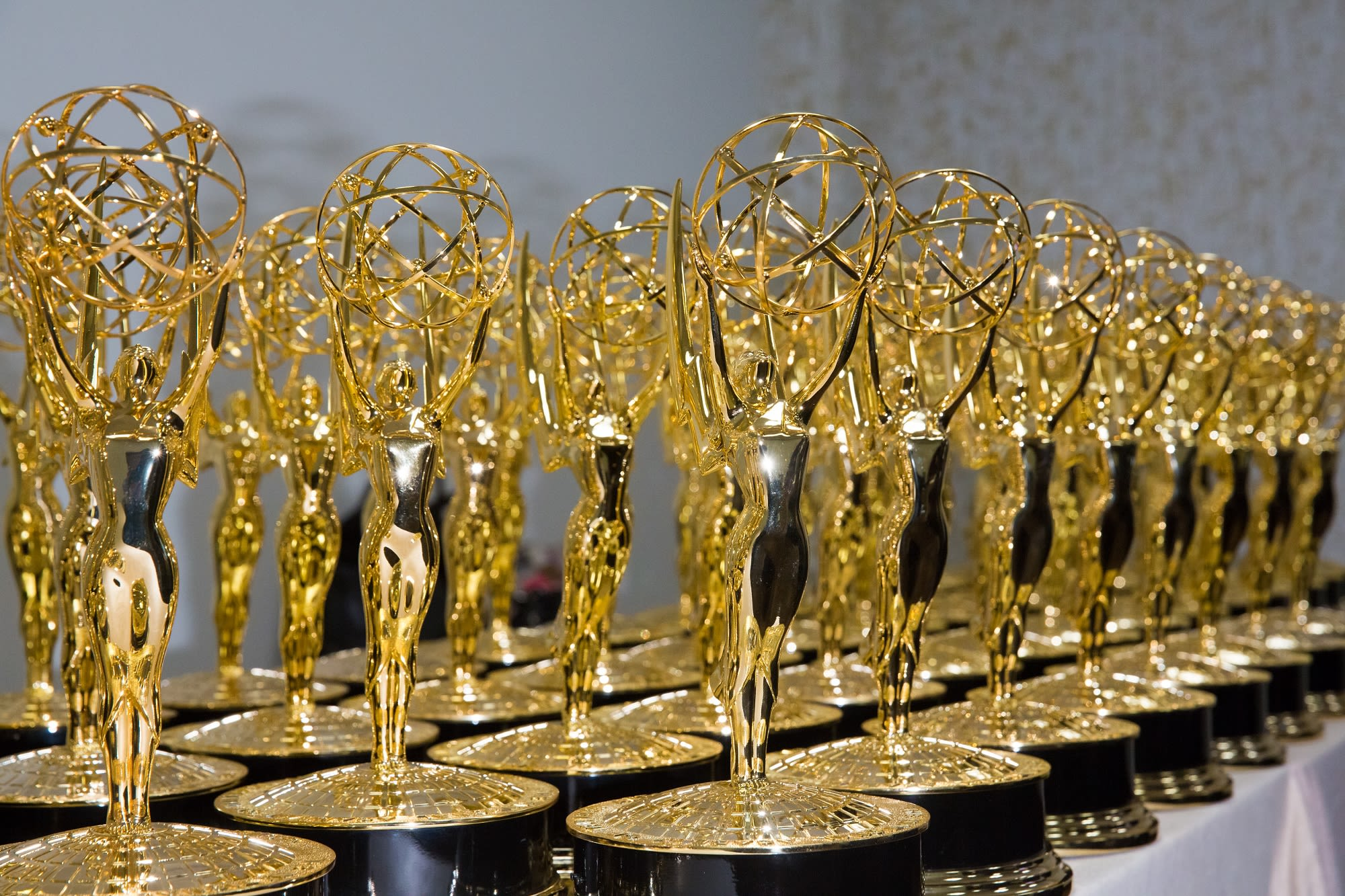 The Emmy statuettes, all ready for to be given to those who claimed Emmy nominations.