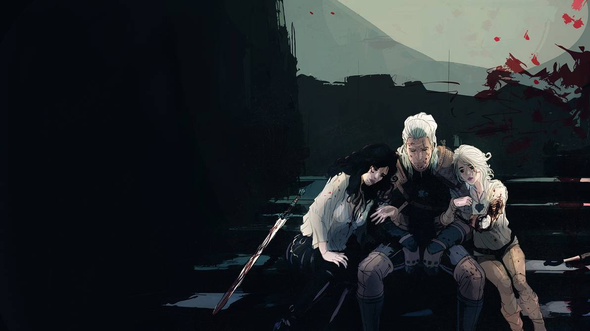 Geralt, Ciri, and Yennefer sit on the staircase at Stygga Castle