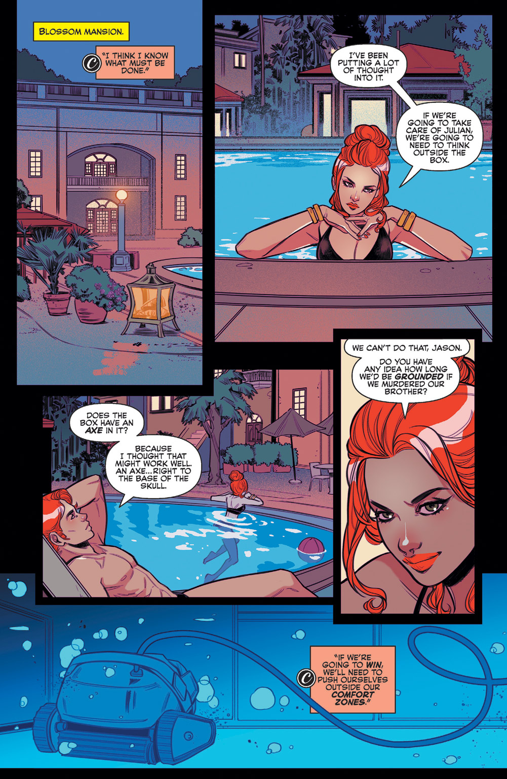 Cheryl and Jason talking at the pool in Blossoms 666 #5.