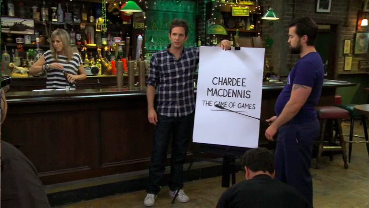 Dennis and Mac explaining Chardee MacDennis to Frank.