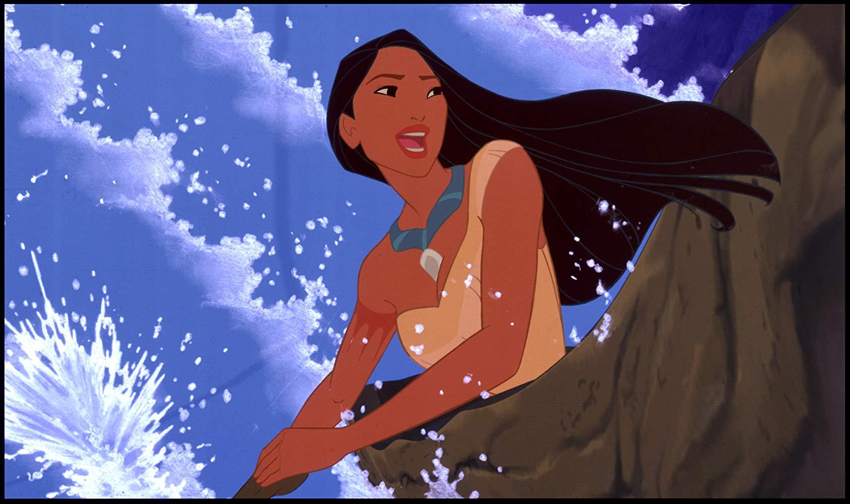 Pocahontas paddling a canoe.