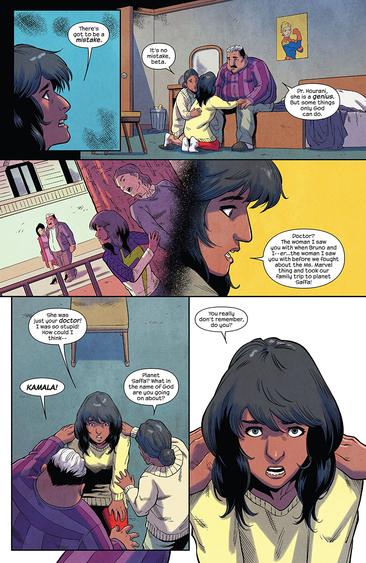 The Magnificent Ms Marvel #6: Page 3, Kamala deduces that her father is not a cheater.