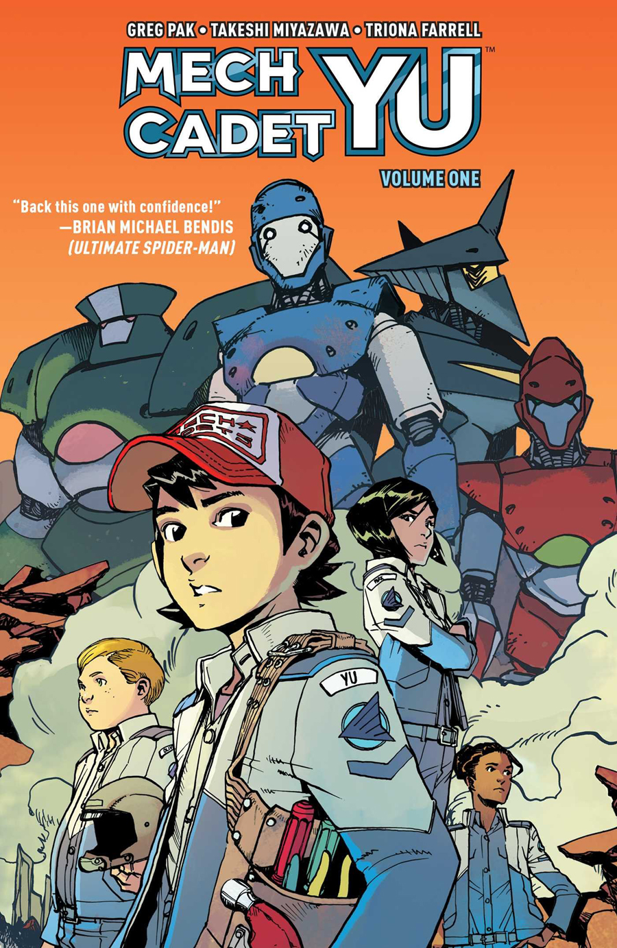 The front cover of Mech Cadet Yu Vol. 1 showing Team Stanford.