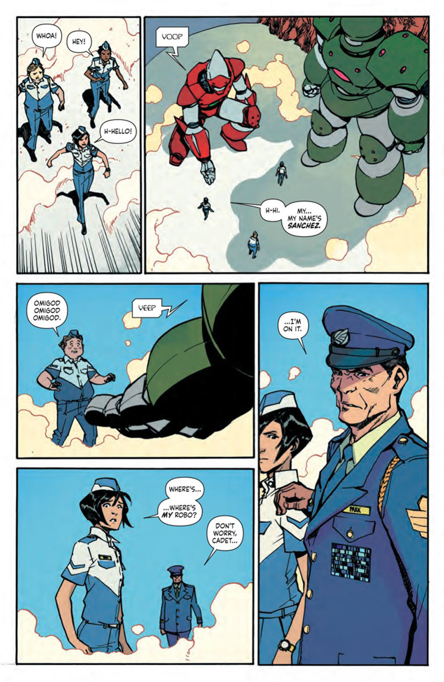 Park rejected by the robos in Mech Cadet Yu Vol. 1.