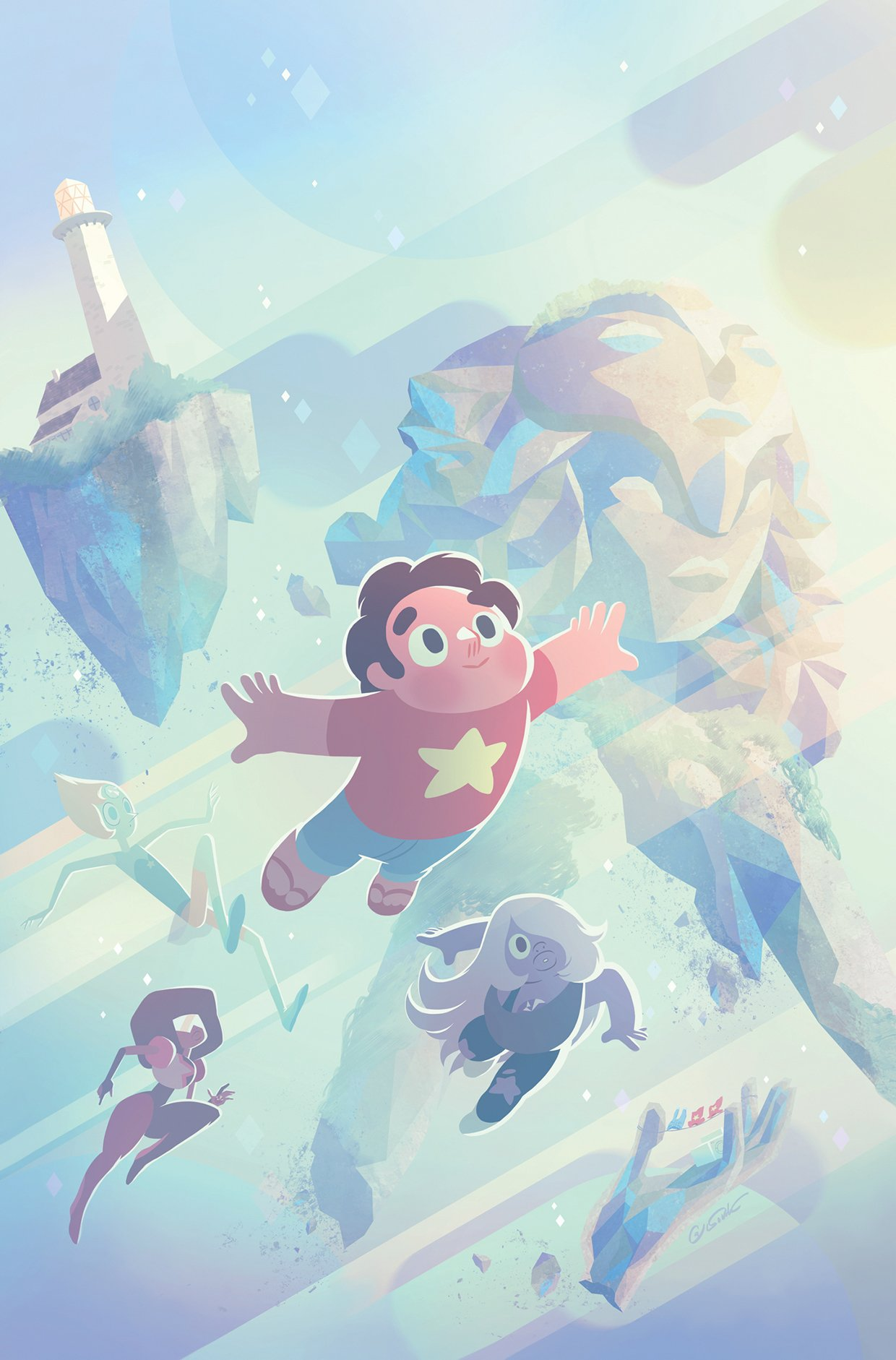 Steven soaring through the sky with the Crystal Gems, Garnet, Amethyst and Pearl following behind with the Crystal Temple in the background.