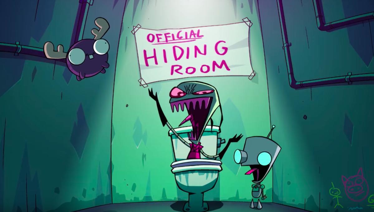 Zim, Gir, and Mini Moose laughing inside Zim's bathroom.