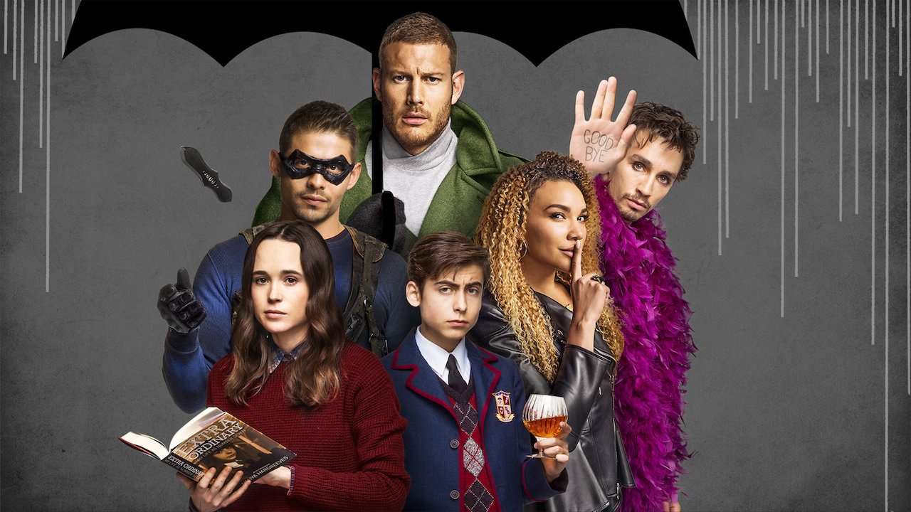 Members of Halloween adjacent The Umbrella Academy posing under an illustrated umbrella for the show's cover.