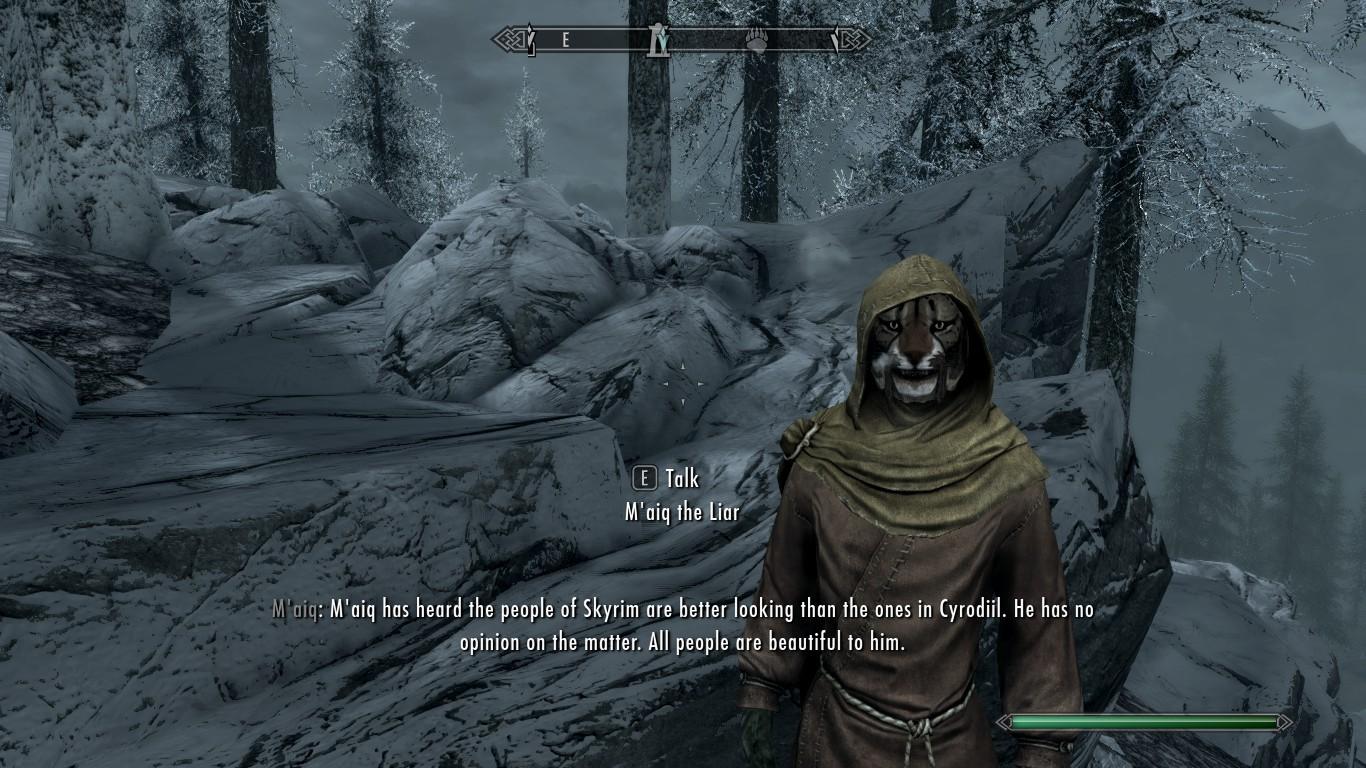 Elder Scrolls: M'aiq the Liar speaks to a Skyrim player.