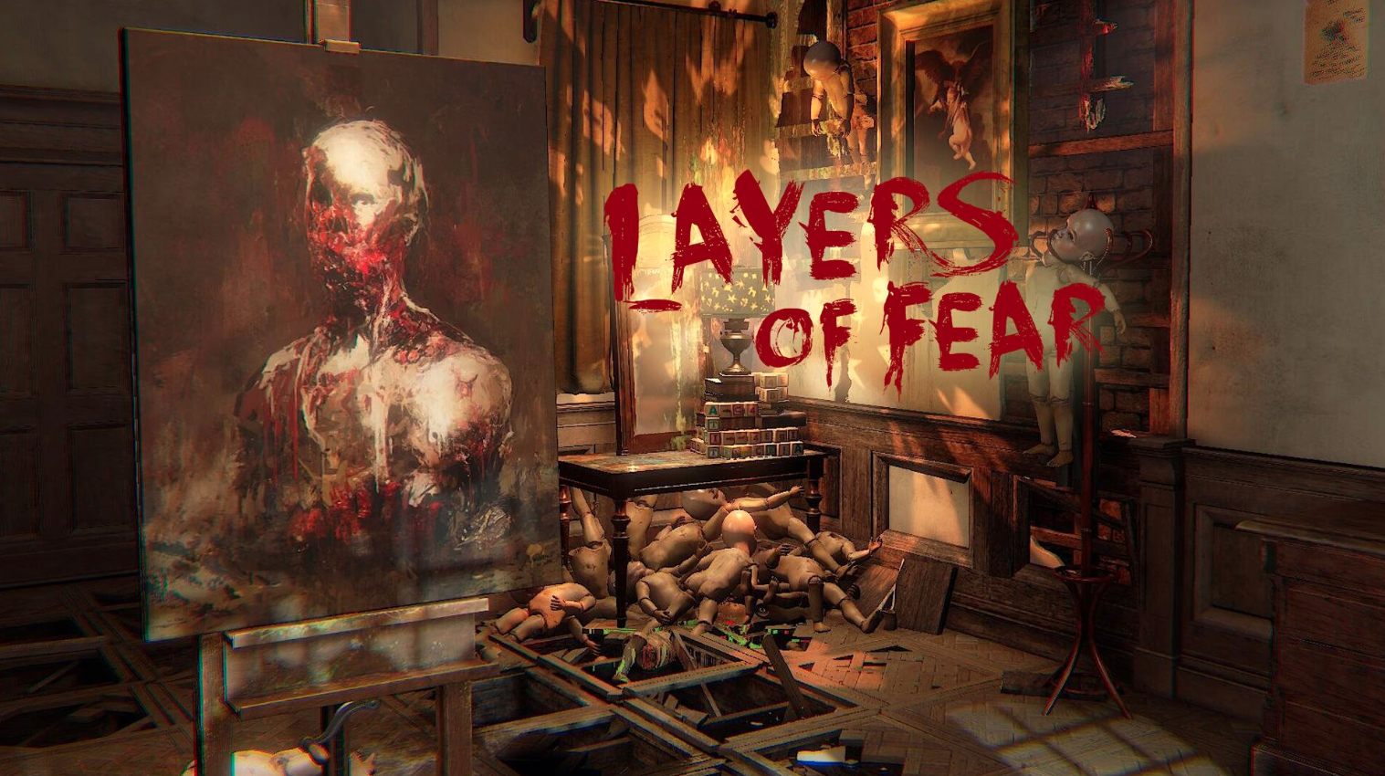 Art studio filled with broken baby dolls. Canvas with a painting of bloody human: Layers of Fear: Horror Games