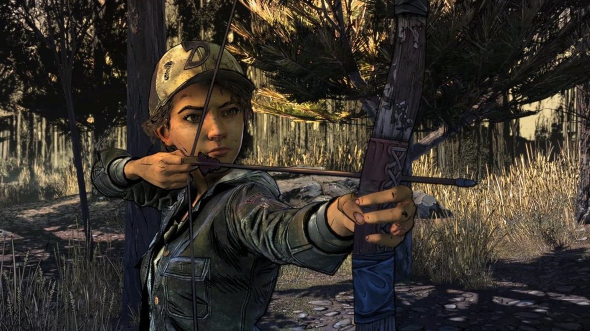 Girl with a bow in arrow in The Walking Dead video game