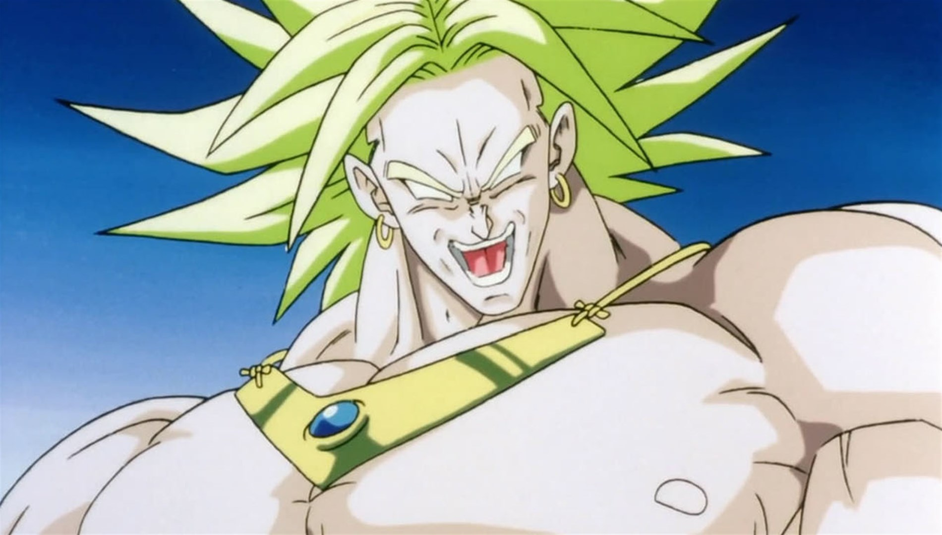 Broly who is thick with muscle and sinisterly.