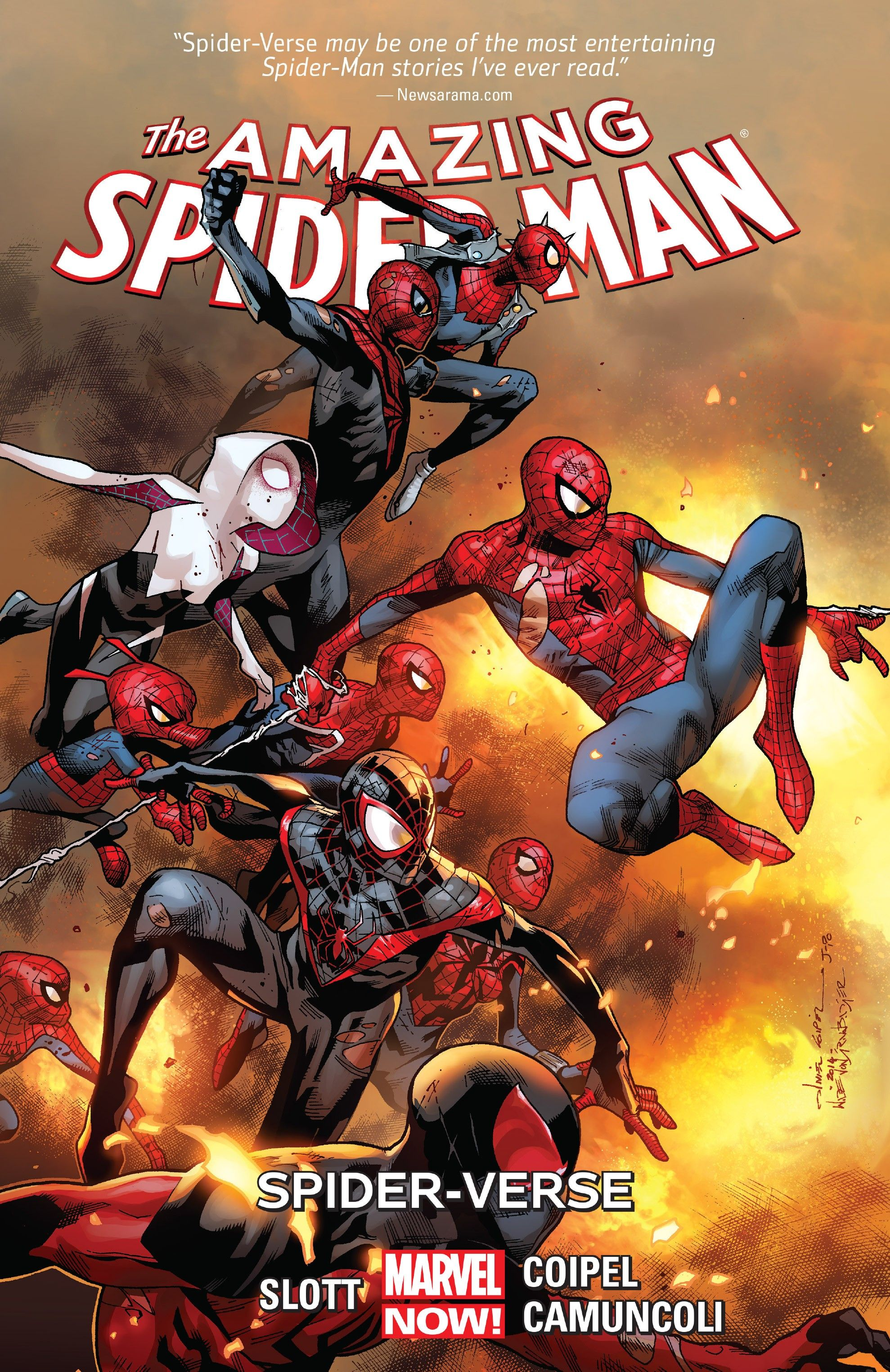 Different versions of spider-man against explosion