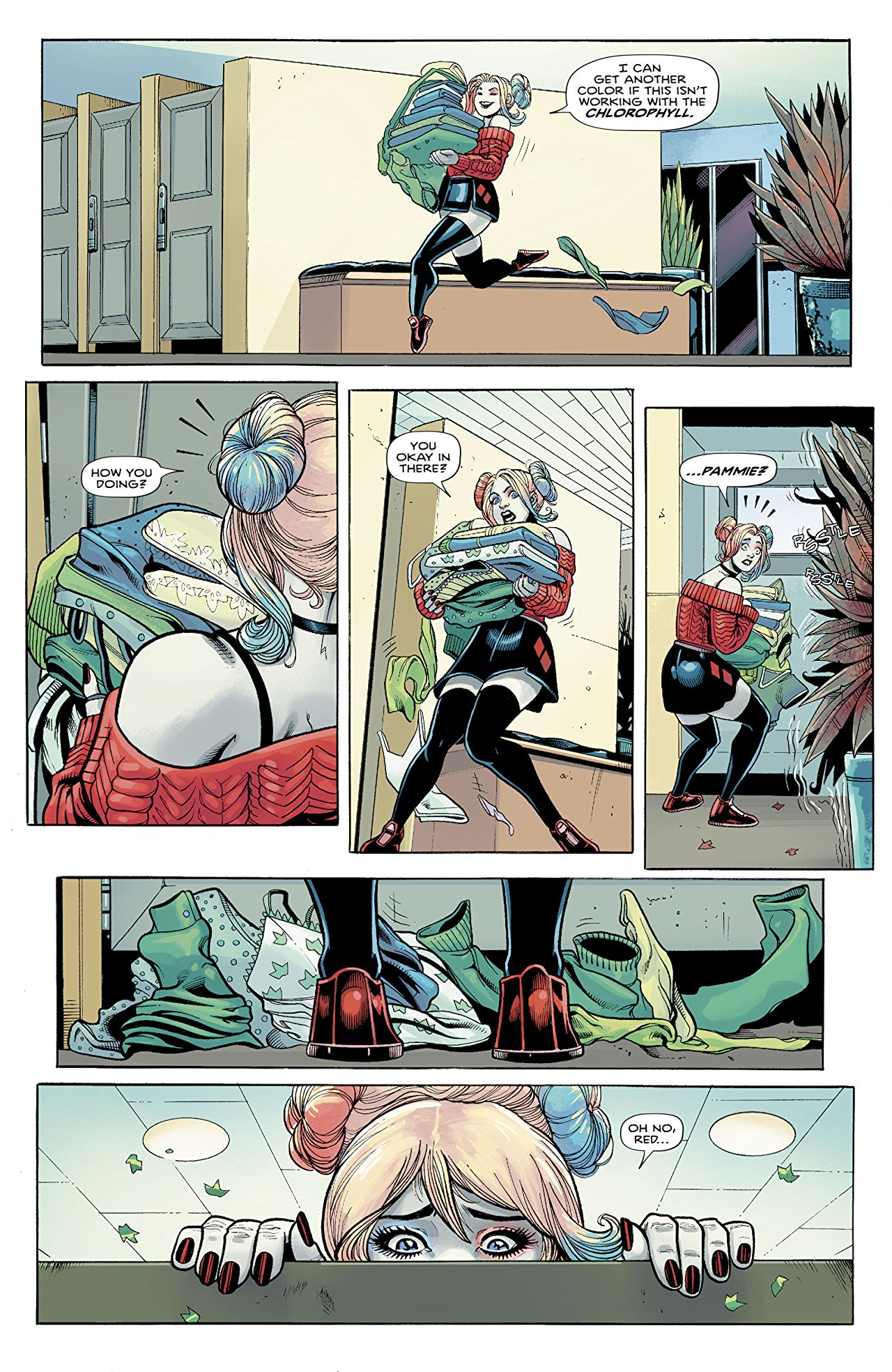 Harley Quinn and Poison Ivy #1, Page 5, Harley Giving Clothes to Ivy.