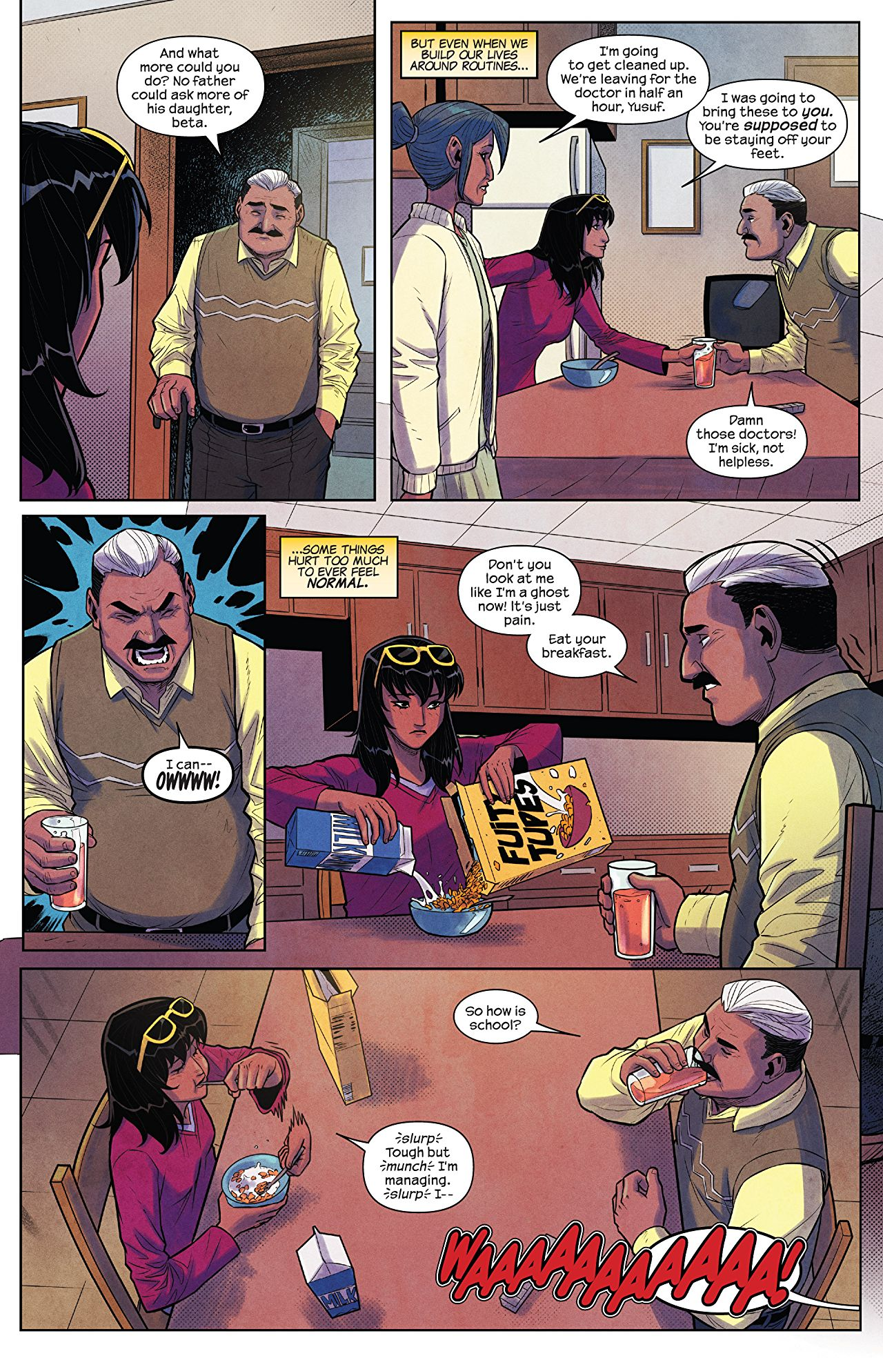 The Magnificent Ms Marvel #7: Page 3, Kamala eats breakfast with her father.
