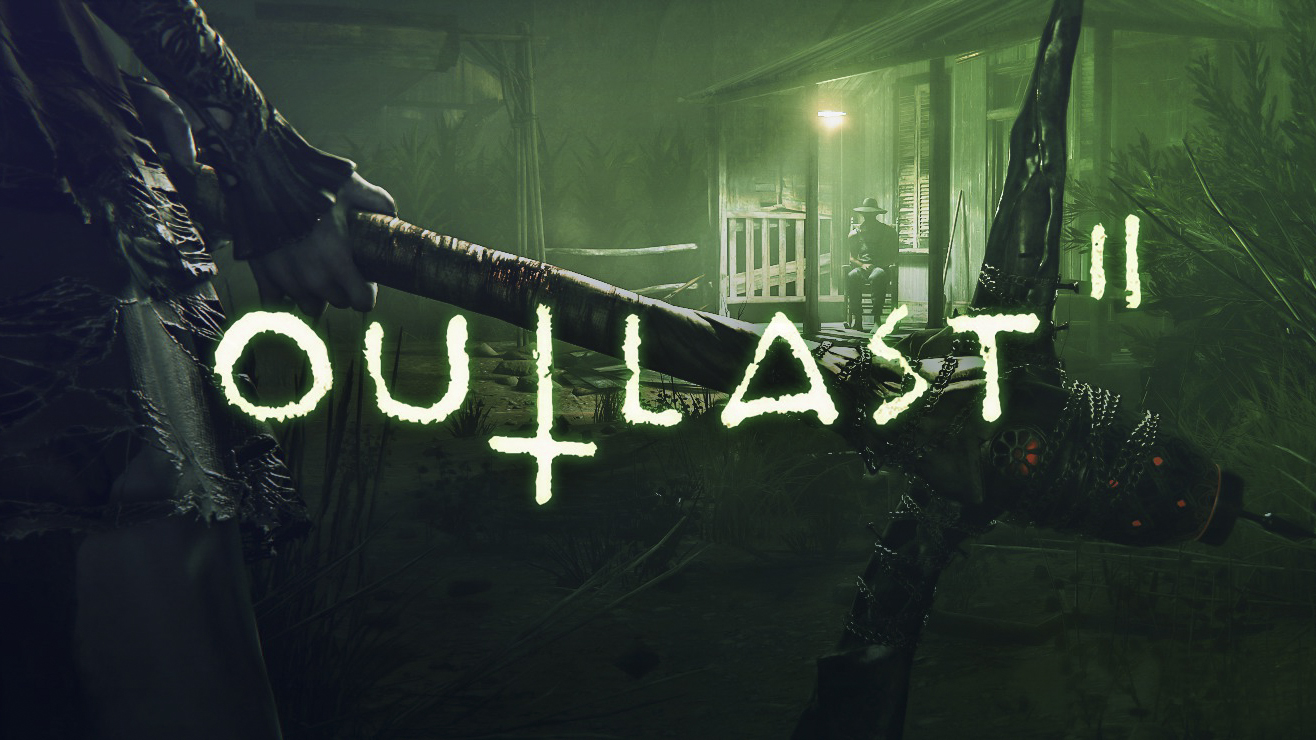 Woman holding pickaxe in front of old cabin with man sitting on porch: Outlast2: Horror games