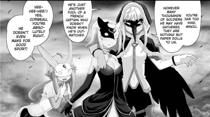 Lapin, Minou, and Corbeau, the three antagonists of Tart Magica.