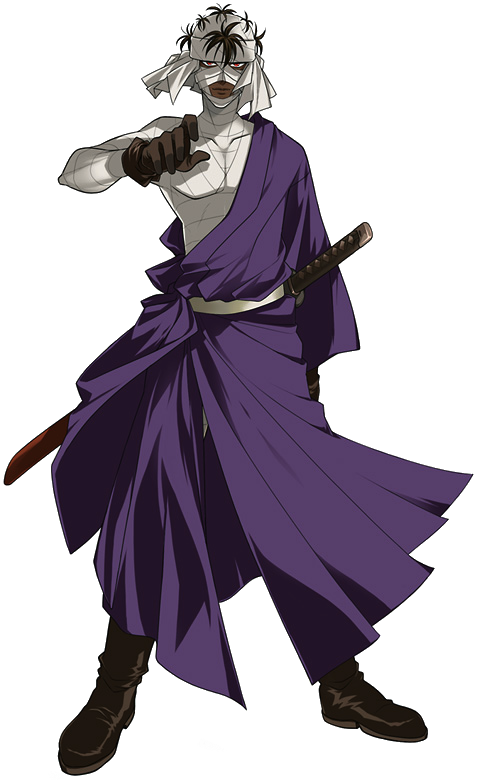 Shishio Makoto covered in bandages with a a deep purply robe over them and a sword at his him. His hand is up, ready to draw his weapon.