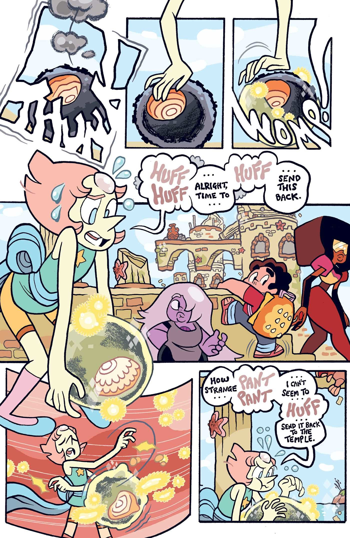 A corrupted gem is bubbled up by Pearl. Amethyst, Steven and Garnet watch as Pearl tries to lift up the gem to send it back to the temple but is unable to.