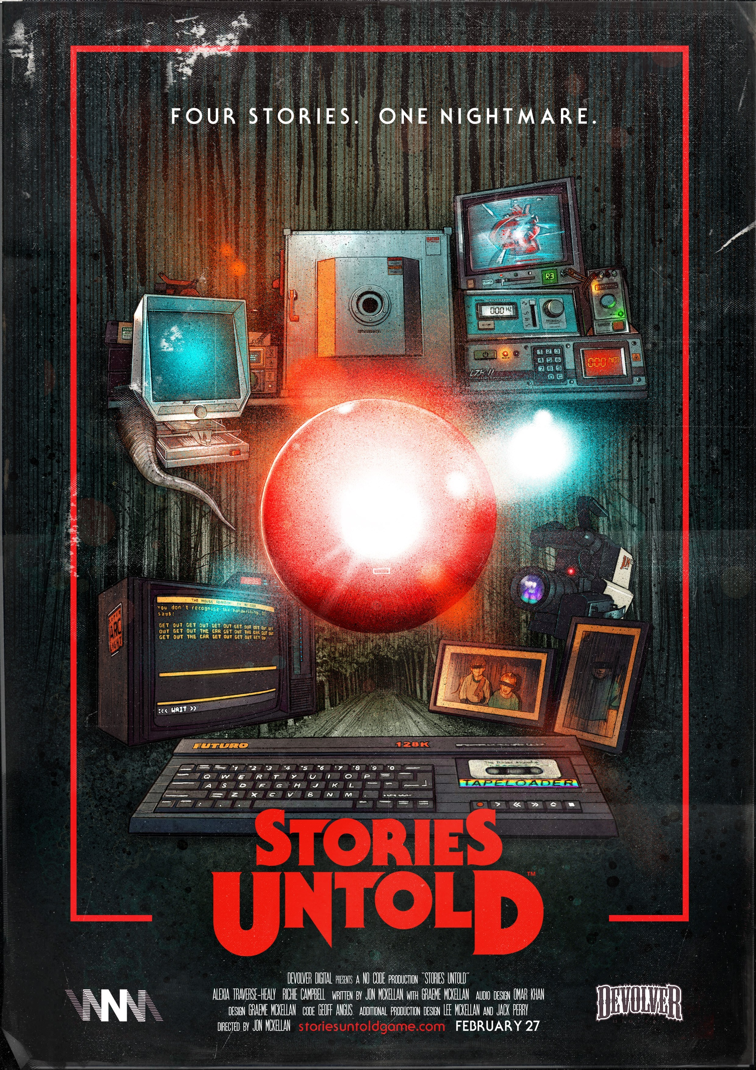 Stories Untold Poster Art. Glowing red orb in the middle of 80s retro technology
