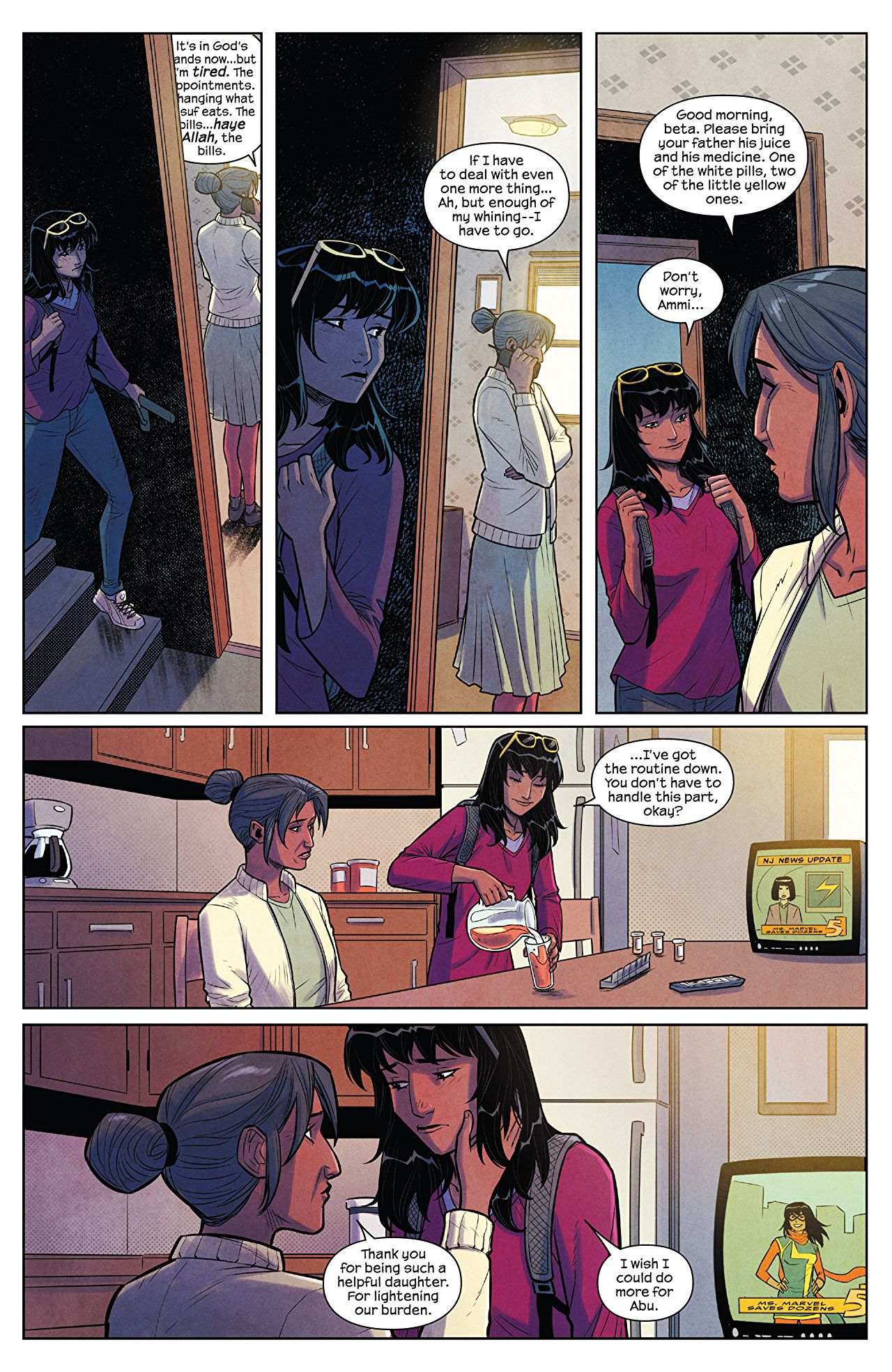 The Magnificent Ms Marvel #7: Page 2, Kamala gets ready for school.