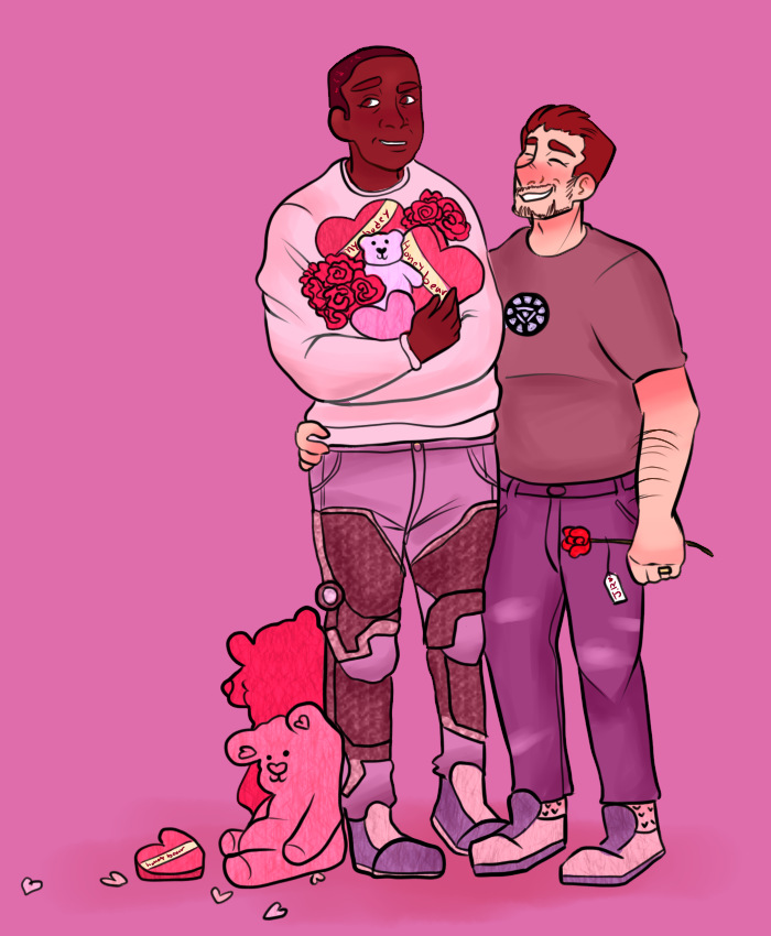 Fanart of Rhodey being gifted Valentine's day gifts from Tony.