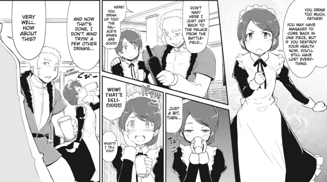 Melissa and her father bond over drinks in Tart Magica Vol. 2.