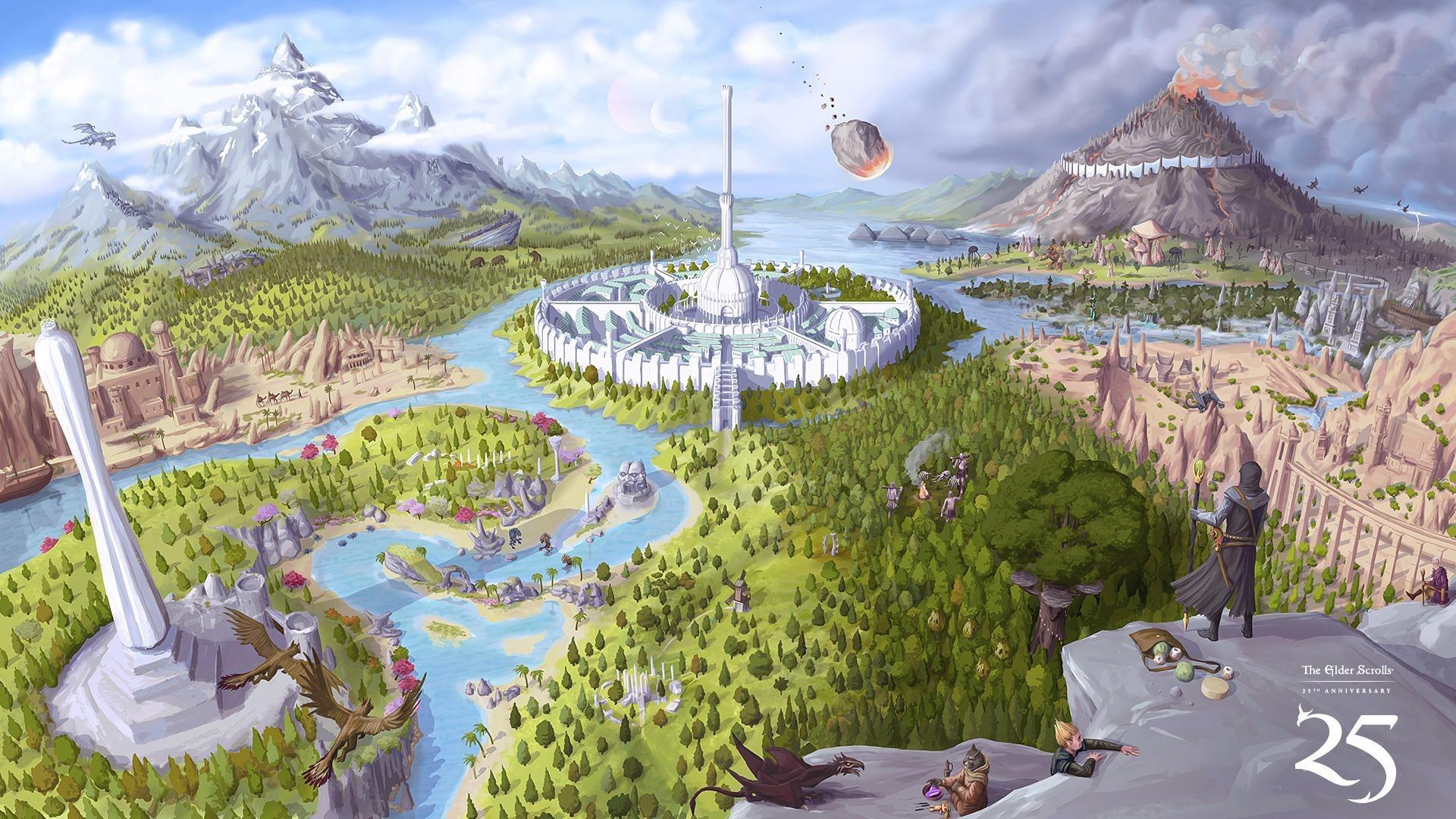 This 25th anniversary promo image displays a map of Tamriel featuring references to all TES games.