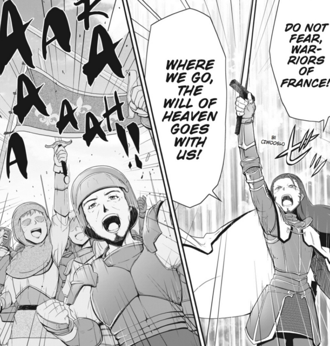 Gilles de Rais motivates the French to fight at the climax of the second volume.