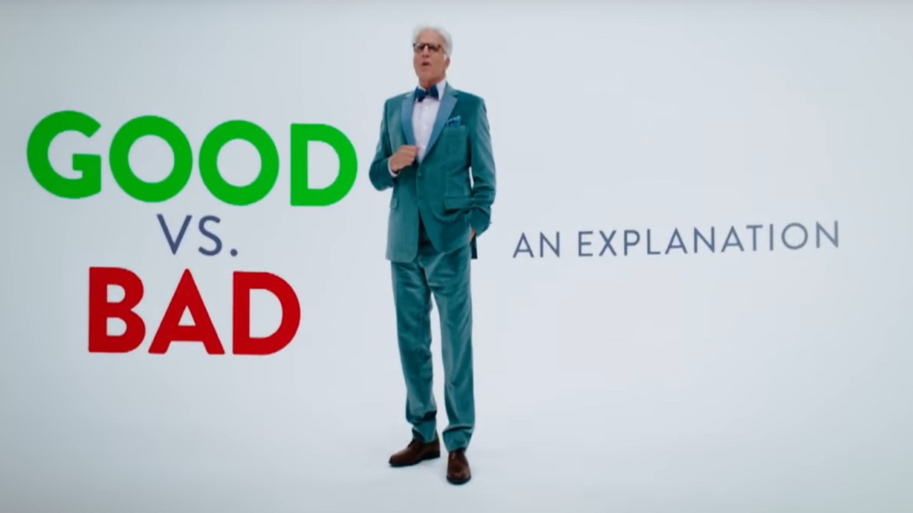 Michael explaining how people are sent to either the good place or the bad place.