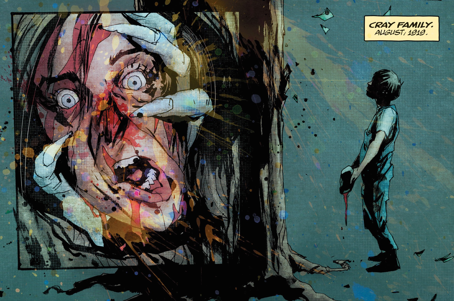 Bloody face being pulled by claw: boy standing in front of tree: Wytches