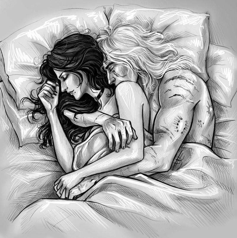 Yennefer and Geralt snuggle together as they sleep