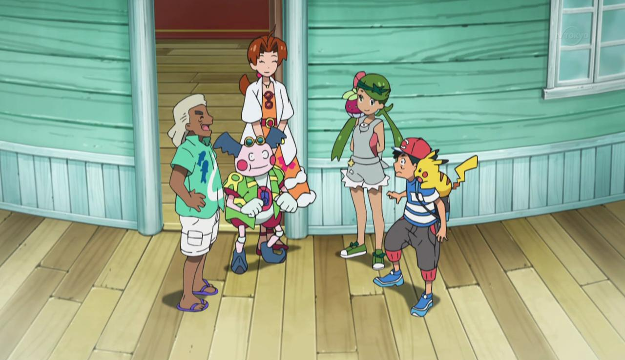 Ash and Mallow meet with up with his mom and Mr. Mime as well as Principal Samson Oak at the Pokemon School.