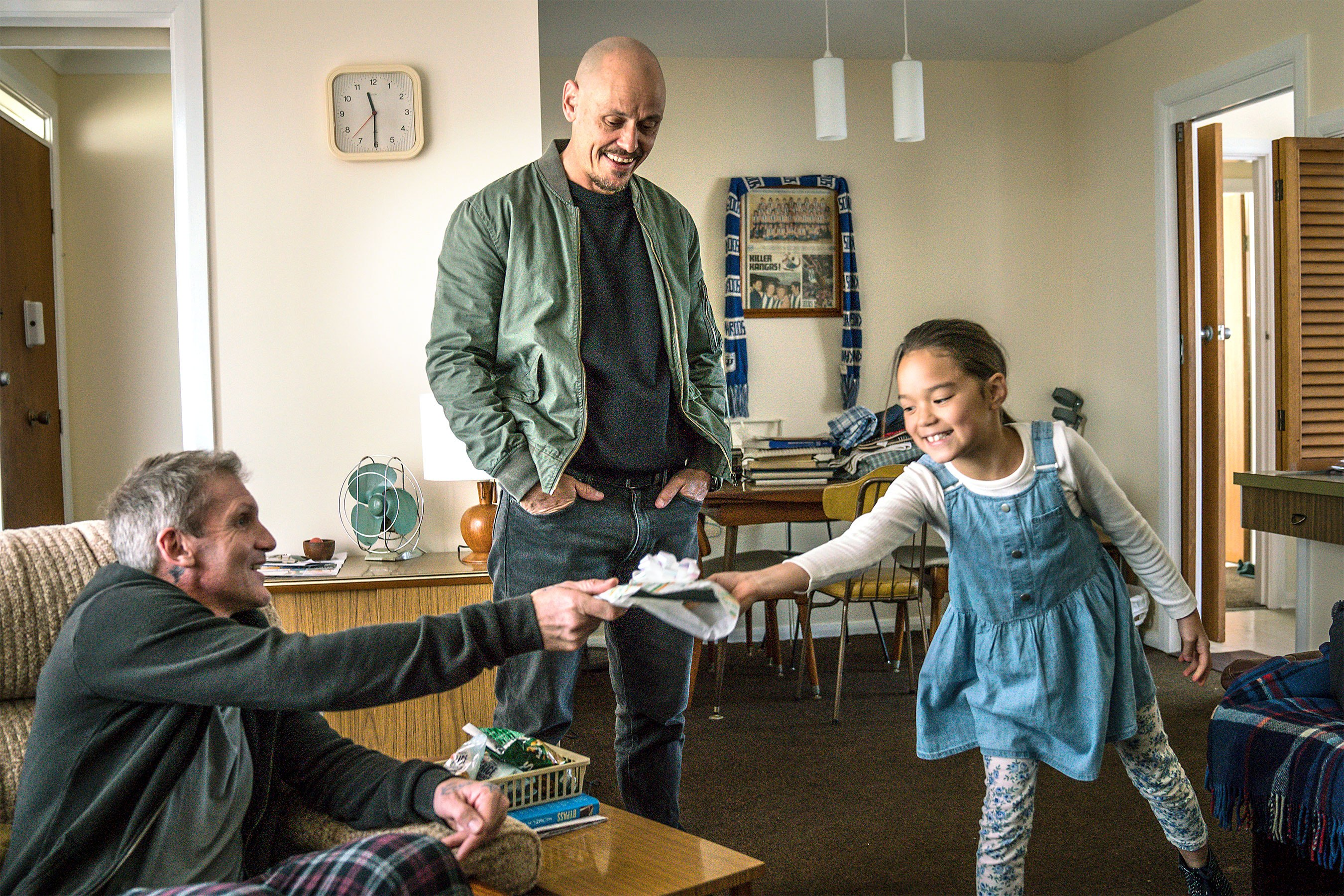 MR INBETWEEN -- Pictured: (l-r) Nicholas Cassim as Bruce, Scott Ryan as Ray Shoesmith, Chika Yasumura as Brittany. CR: Mark Rogers/FX