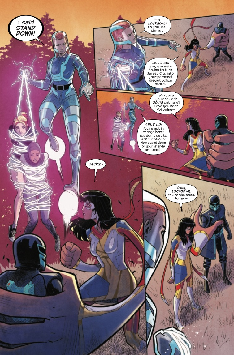 The Magnificent Ms Marvel #8: Page 1, Kamala surrenders to save her friends.