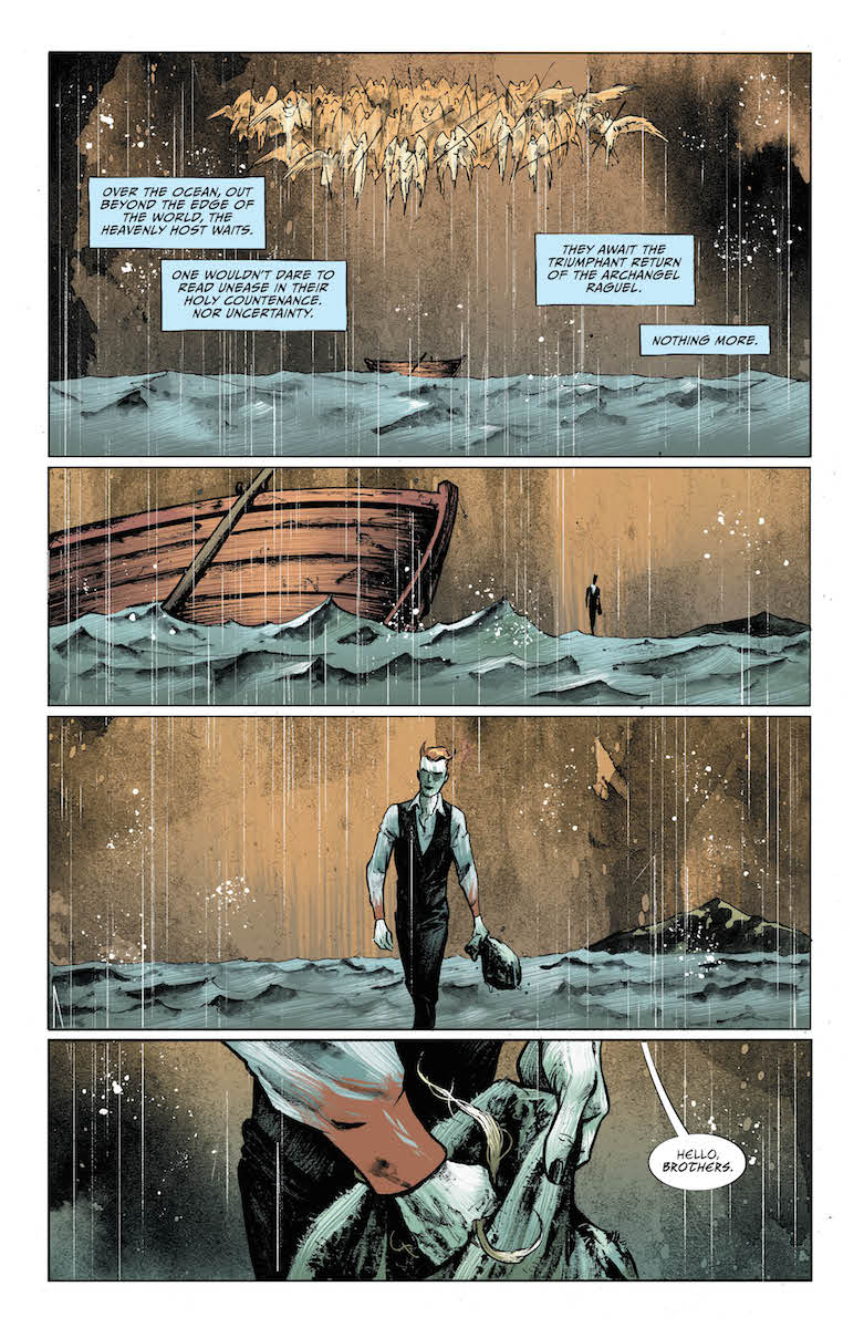 Lucifer #13, Page #3: Lucifer confronts the Angels
