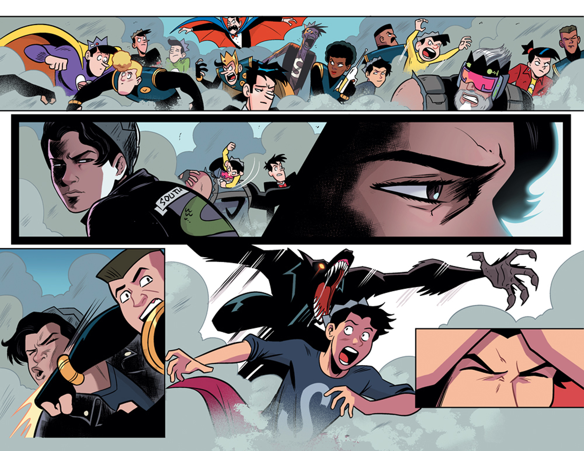 The insane battle between Jugheads in Jughead's Time Police #5.
